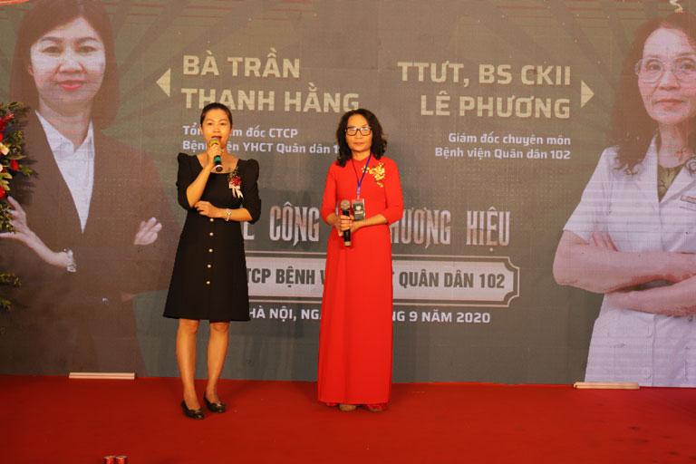 Bác sĩ Lê Phương và Bà Trần Thanh Hằng phát biểu tại buổi lễ