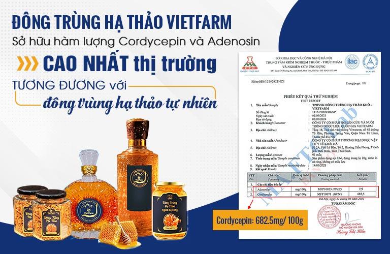 Đông trùng hạ thảo Vietfarm đã được đơn vị có thẩm quyền kiểm định chất lượng
