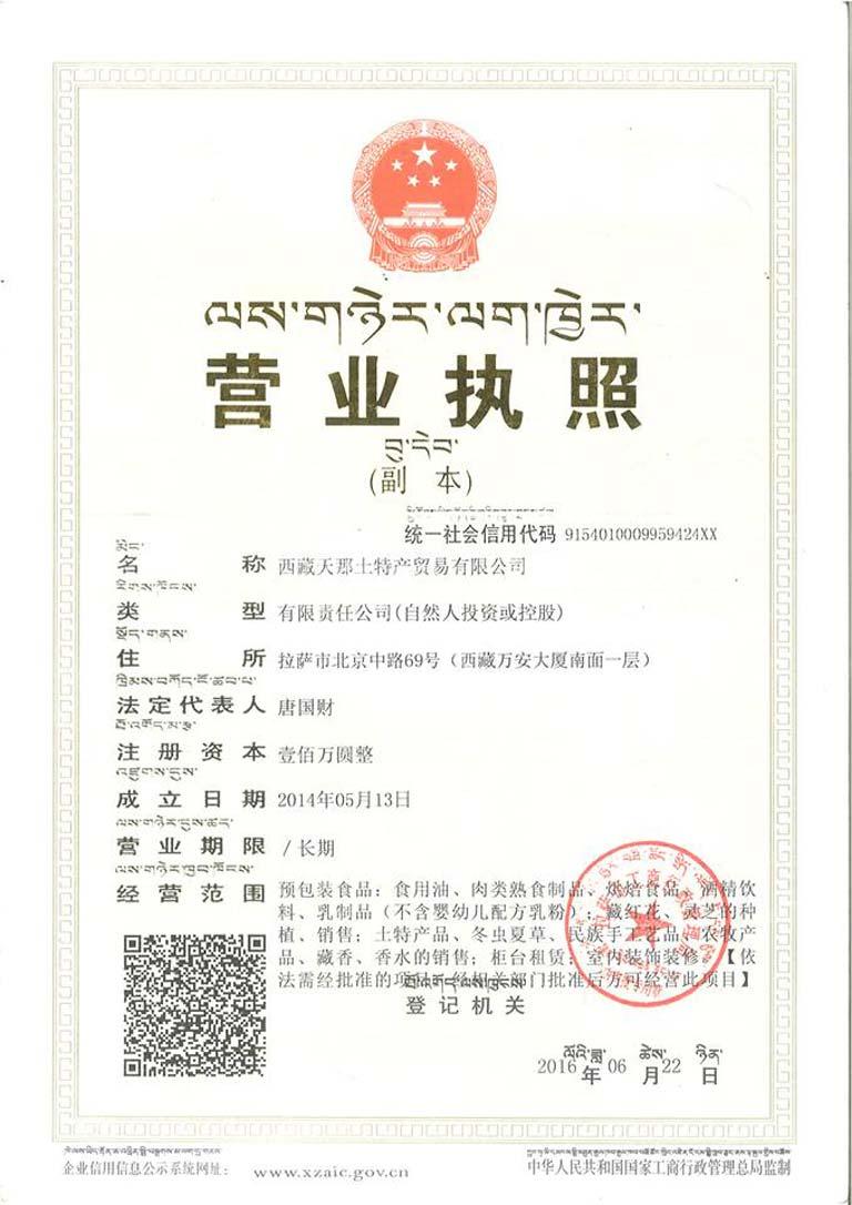 Giấy phép kinh doanh của công ty Thiên Na