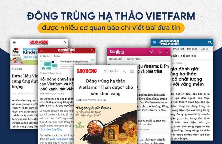 Đông trùng hạ thảo Vietfarm được nhiều cơ quan báo chí đưa tin, giới thiệu rộng rãi