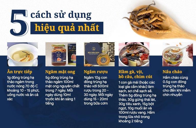 5 cách sử dụng đông trùng hạ thảo tự nhiên Tây Tạng tốt nhất